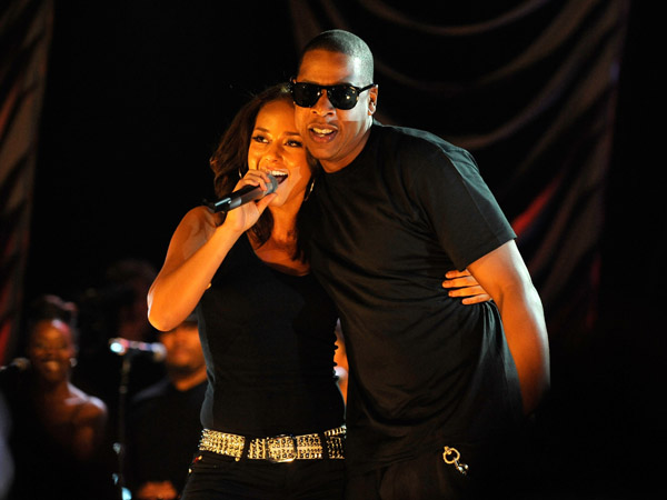 Jay z joins alicia keys on stage for world aids day concert in nyc alicia keys and jay z wireimage malvernweather Gallery