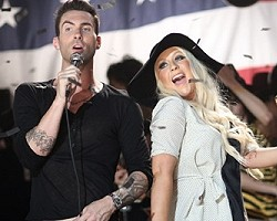 Adam Levine and Christina Aguilera - Getty