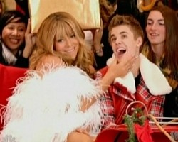 "Mariah Carey and Justin Bieber in ""All I Want For Christmas Is You"""