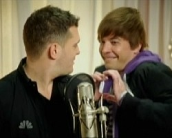 Michael Buble and Jimmy Fallon as Justin Bieber