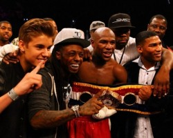 Justin Bieber, Lil Wayne, Floyd Mayweather Jr., 50 Cent - Flickr via Miss Info