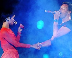 Rihanna and Chris Martin of Coldplay - Getty