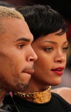 Rihanna Chris Brown Lakers 1