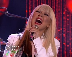 Christina Aguilera and Blake Shelton perform on Ellen