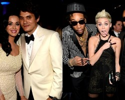 Katy Perry and John Mayer, Wiz Khalifa, Miley Cyrus, Juicy J - Getty