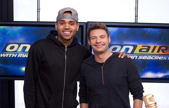 Photo of Ryan Seacrest & his friend, musician  Chris Brown