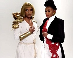 "Erykah Badu and Janelle Monae in ""Q.U.E.E.N."""
