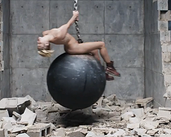 "Miley Cyrus in ""Wrecking Ball"" video"